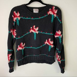 Skyr Black Red Pink Floral Sweater Small